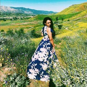 Lulu's Long Summer Dress w/ Floral Print Size L